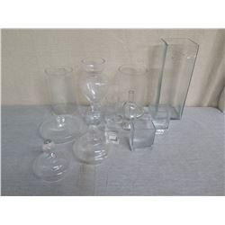 Misc Glass Décor: Square Vases, Bottles, Candy Jars w/ Lids, etc