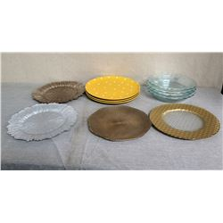 Qty Approx. 10 Misc Plates: Metal, Clear Glass, Yellow Dot Design, etc