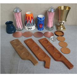 Misc Tableware: Wood Condiment Trays, Coasters, Straw Dispenses, Tikis Cup, etc