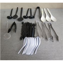 Qty 3 Tanioka's Catering Serving Spoons & Multiple Saimin Spoons, Ladles, Tongs