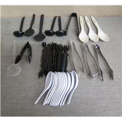 Qty 3 Tanioka's Catering Serving Spoons & Multiple Saimin Spoons, Ladles, Tongs