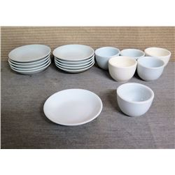 "Qty 11 White Saucers & 6 Small Bowls 2""H"