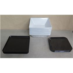 "Qty 15 Square White Serving Dishes 12"" Square & 10 Black Trays 12""L x 10""W"