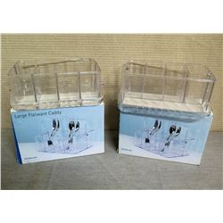 "Qty 2 US Acrylic Large Flatware Caddies w/ Handles & Box 10""L x 4""H"