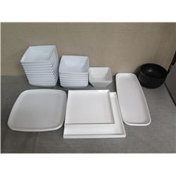 Qty Approx. 25 Misc Size White Serving Dishes & Black Bowls