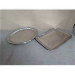 Multiple Rectangle & Round Etched Metal Serving Trays - Misc Sizes