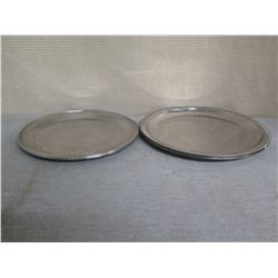 "Qty Approx. 9 Round Etched Metal Serving Trays 14"" & 15"" Diameter"