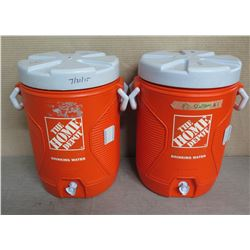 "Qty 2 Home Depot Orange Rubbermaid Insulated Beverage Dispensers w/ Lids 21""H"