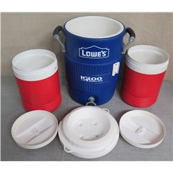 Lowe's Igloo Blue Insulated Beverage Dispenser & 2 Legend Red 2 Gallon Coolers