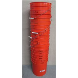 Qty Approx. 15 Misc 5 Gallon Stackable Plastic Pails w/ Metal Handles