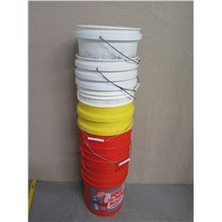Qty Approx. 10 Misc 5 Gallon Stackable Plastic Pails w/ Metal Handles