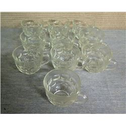 "Qty 10 Glass Mugs w/ Handles 3"" Diameter x 2.5""H"