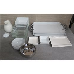 Misc Serving Dishes: Pitcher, Square Dishes, Rectangle Trays w/ Metal Handles, etc