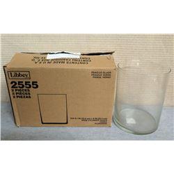 "Qty 3 Libbey Wide Cylinder Vases 6"" Diameter x 8""H"