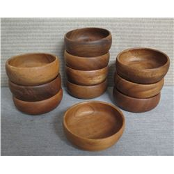 "Qty 11 Wooden Calabash Bowls  4"" Diameter x 1.5""H"