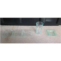 Qty Approx. 100 Misc Glassware: 3 Section Tray, Square Bowl & Cylinder Vase