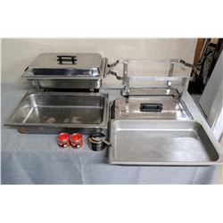 Qty 2 Chafing Dish w/ Stand, Pans, Lids & Sterno
