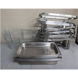 Multiple Chafing Dish Stands, Metal Pans & Wire Baskets