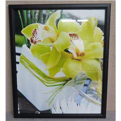 """Orchid Flower Art in Black Frame 26"""" x 22"""""""
