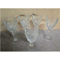 """Qty 5 Etched Wine & Parfait Stemmed Glasses 8""""H"""