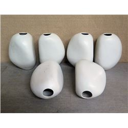 """Qty 6 White Abstract Vases 6""""W x 8.5""""H"""