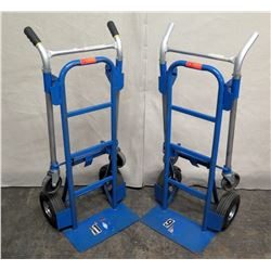 Qty 2 Blue Convertible Folding Hand Truck Carts (tires need to be fixed - see pictures)