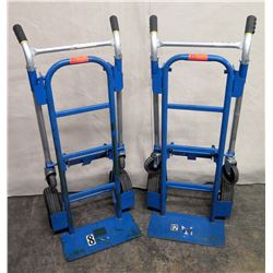 Qty 2 Angelus Blue Convertible Folding Hand Truck Carts (tires/wheel need to be fixed -see pictures)