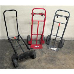 Qty 3 Milwaukee Convertible Folding Hand Truck Carts: Black, Blue & Red (tires need to be fixed)