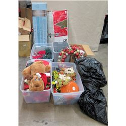 Misc Christmas: 2 Artificial Trees, 4 Bins, 2 Bags & Loose Ornaments & Decor