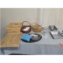 Multiple Woven Baskets & Metal Baking Pans Misc Sizes