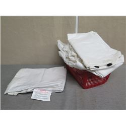 Plastic Bin Multiple Fabric Zippered Pouches