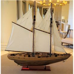 Wooden Replica 'Bluenose II' Schooner Sailboat Model