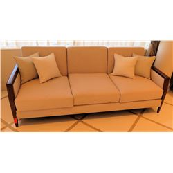 """Wooden Upholstered 3-Seat Sofa 81""""L x 32""""W x 32""""H & 4 Accent Pillows"""