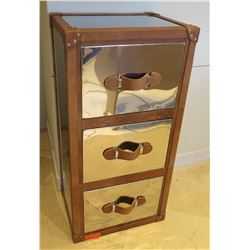 """Metallic 3-Drawer Cabinet w/ Leather Accents 22"""" x 16"""" x 44""""H"""