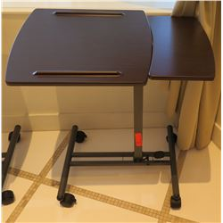 "Portable Folding Adjustable Table with Wheels 28"" x 17"" x 29""H"