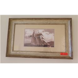 "Ship Scene Photographic Print, 31"" x 19"" Framed & Matted"