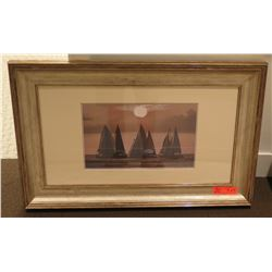 "Sailboats Scene Photographic Print, 31"" x 19"" Framed & Matted"