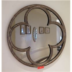 "Wood Framed Round Mirror 32"" Diameter"