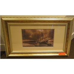 "Ship Scene Photographic Print 32"" x 20"" Framed & Matted"