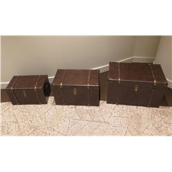 """Qty 3 Misc Trunks w/ Metal Hardware (Largest is 28""""x17"""")"""