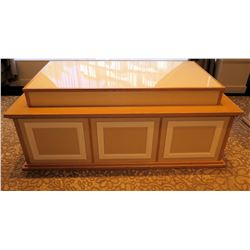 """Rectangle Wood Serving Table w/ Raised Center & Open Back 71""""L x 35""""W x 30""""H"""