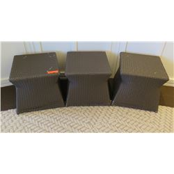 "Qty 3 Brown Woven Side Tables 15"" x 15"" x 15""H"