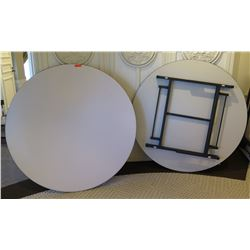 "Qty 2 High Quality White Round Folding Tables 65"" Diameter"