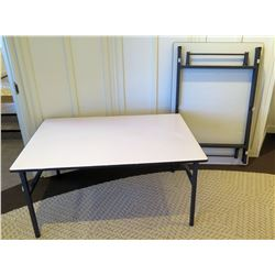 "Qty 2 High Quality White Rectangle Folding Tables 55""L x 37""W x 28""H"
