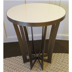 Round Table w/ White Top & Star Design Base, 24  Dia, 28 H