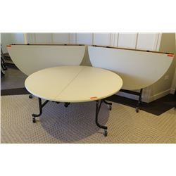 "Qty 3 Round Folding Tables w/ Wheeled Frame, 59"" Diameter x 28""H"