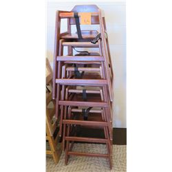 Qty 5 Wooden Baby High Chairs