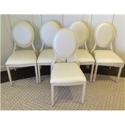 "Qty 5 Upholstered Chairs - 17"" Square Seat w/ Oval Back 36""H"