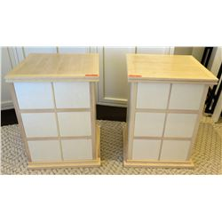 "Qty 2 Wooden Side Tables /Nightstands with Shelving 24"" x 24"" x 32""H"