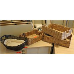 "Qty 5 Woven Baskets - 2 Rectangle w/ Handles, 2 Nesting & Oval 20""L"
